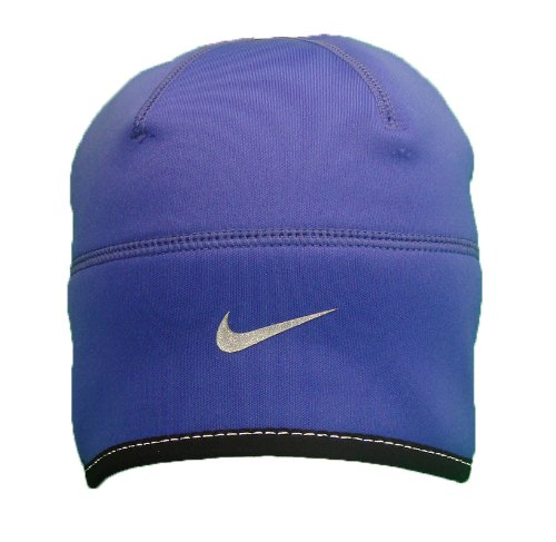 Nike Women s Therma Fit running beanie skull cap with ponytail opening in  Purple 80f730611f3