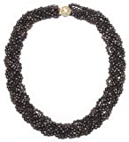 14k Yellow Gold 4mm Smoky-Quartz and Dyed Bronze Freshwater Cultured Pearl Woven Strand Necklace, 16""