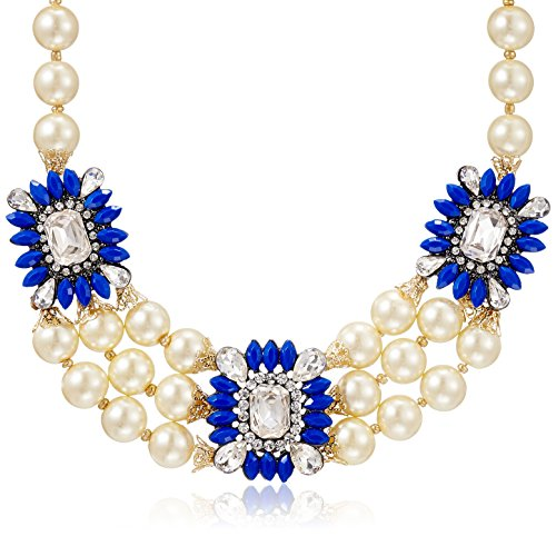 Amrita Singh Pearl Choker Necklace for Women (Blue) (AN-1182-BLU) (white)