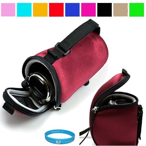 Soft Silky Smooth Neoprene Protective Camcorder Carrying Case for Panasonic Camcorders (Burgandy) + Includes SumacLife Wisdom Courage Wristband