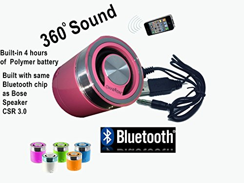 Portable Bluetooth Speaker System for iPhone / Android Smart Phones / iPad / Tablets / Macbook / Notebooks (PINK)