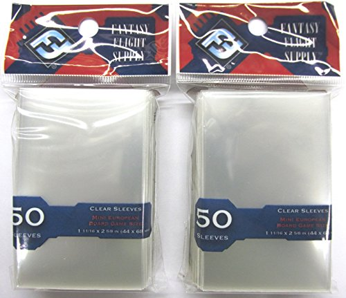 Fantasy Flight Mini European Board Game Sleeves (50 ct) 44 x 68 mm (2-Pack)