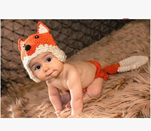 Jastore® Infant Costume Photography Cute Fox Hat Set Handmade Knit Crochet