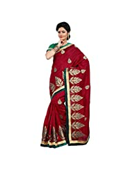 Alluring Maroon Colored Embroidered Bhagalpuri Silk Saree By Triveni