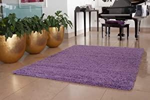Ontario Long Pile Easy Clean Lilac Shag Rugs - Available in 4 Sizes by The Rug House