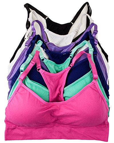 Barbra's 6 Pack of Plus Size Wirefree Yoga Bras with Removable Pads