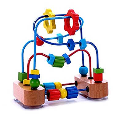 Classic Bead Maze Cube Toy for Babies, Toddlers - Wooden Roller Coaster Beads On Sturdy Wire Frames by Cubbie Lee Toy Company that we recomend individually.