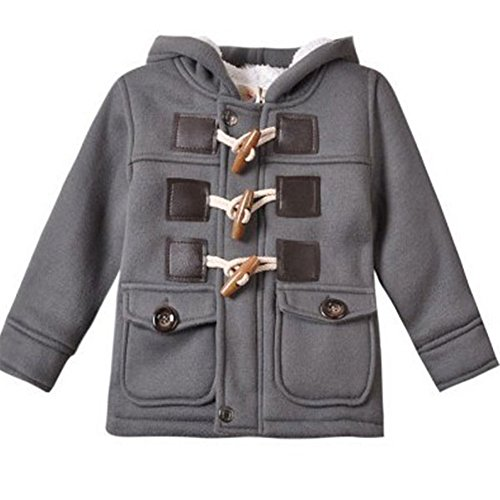 Baby Boy Warm Winter Horn Button Outerwear Toddler Hooded Coat Snowsuit Jacket (6-12 Months)