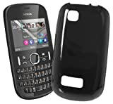 Works with Nokia Licensed TPU Case Cover for Nokia Asha 201 - Black
