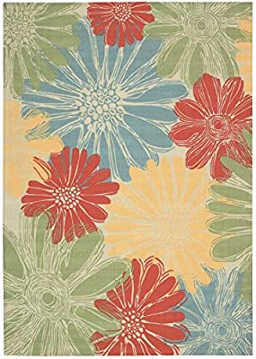Ivory (White / Ivory) Patio & Porch Rug ,Floral Tropical Indoor/Outdoor