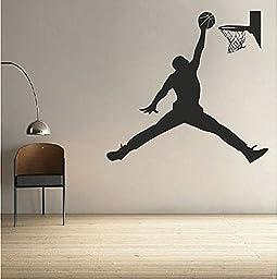 Basketball Player Wall Decal, Jordan Basketball Decal, Basketball Designs, Removable Basketball Wall Stickers, Kids Basketball Decals