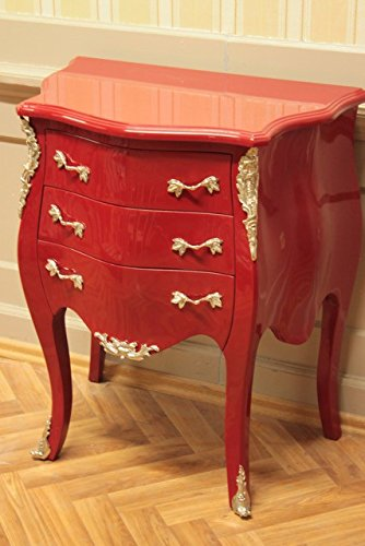 baroque chest of drawers 3 drawers red laquere shabby chice handles