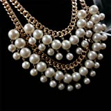 2 Broke Girls Caroline Gold Cream Pearl Chain Necklace Choker Necklace