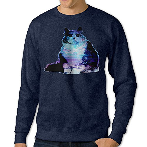 [NUBIA Men's Space Cat Kitty Fashion Hooded Navy M] (Night Fury Costume For Cat)
