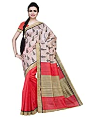 ISHIN Bhagalpuri Silk Peach & Off White Printed Saree