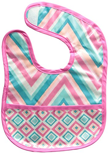 Caden Lane Ikat Collection Chevron Coated Bib, Pink