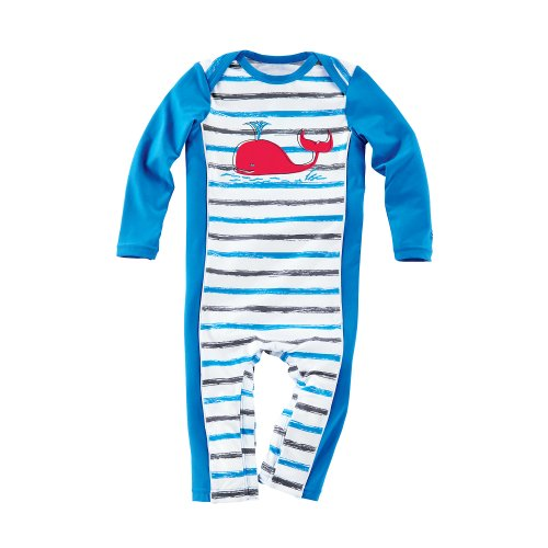 Coolibar Upf 50+ Boy'S Baby Swim Romper - Uv Swimwear (6 Months - Cancun Graphite Stripe)