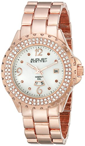 August Steiner Women's Rose Gold-Tone Watch with Link Bracelet