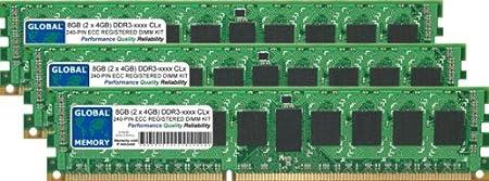 12Go (3 x 4Go) DDR3 800/1066/1333MHz 240-PIN ECC ENREGISTRÉ DIMM (RDIMM) MÉMOIRE RAM KIT POUR SERVEURS/WORKSTATIONS/CARTES MERES (6 RANK KIT NON-CHIPKILL)