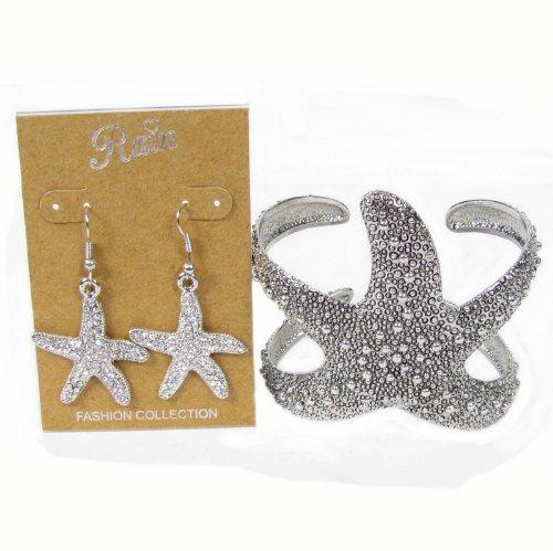 Silvertone Sea Lovers Starfish Cuff Bracelet & Dangle Crystal Earrings Set