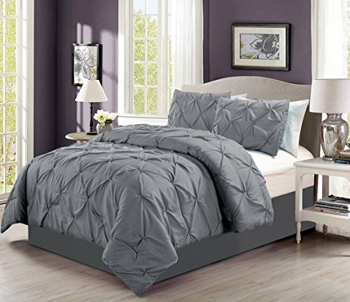 4-pieces-solid-grey-pinch-pleat-goose-down-alternative-comforter-set-king-size-bedding