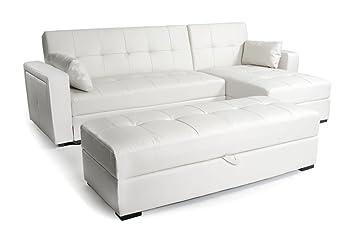 canap d 39 angle en en 2m60 convertible r versible cuir blanc idaho cuisine maison z12. Black Bedroom Furniture Sets. Home Design Ideas