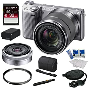 Sony NEX-5R NEX5R, NEX5RKS, NEX5RK NEX-5RK/S 16.1 MP Compact Interchangeable Lens Digital Camera with 18-55mm Lens and 3-Inch LCD in Silver + Sony SEL16F28 16mm f/2.8 Wide-Angle Lens + Sony 32GB Class 10 SD Card + Sony Camera Case + Replacement Battery Pack + Tiffen 49mm Filter + Accessory Kit