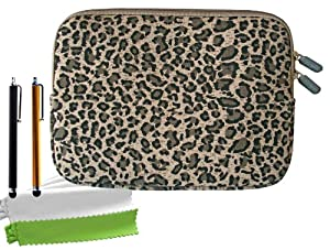 ColorYourLife Bundle of Canvas Fabric Sleeve Case Bag for iPad mini iPad mini 2 / Acer Iconia A1-830 / Acer Iconia B1-710 7.9-inch tablets with 2 Stylus Pens and Microfiber Cleaning Cloths (Leopard print, 8 inch)