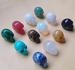 Fashion Natural Stone Skull Pendants Charms 12Pcs