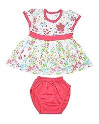 kandyfloss Baby Girls' Cotton Clothing Set (MRHKF-PINK-FROCK-58--3-6 Months, Pink, 3-6 Months)