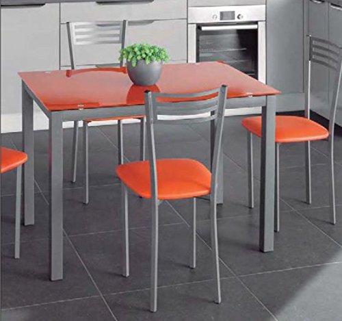 Mesa-extensible-de-cristal-translcido-color-naranja-y-estructura-gris-par-comedor-o-cocina