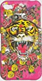 PINK TIGER DESIGN ED HARDY STYLE TYPE HARD CASE BACK COVER FOR IPHONE 4 4S/FREE SCREEN PROTECTOR