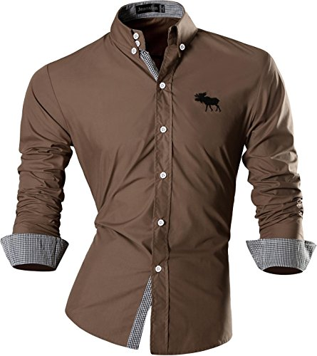 Jeansian Uomo Camicie Maniche Lunghe Moda Men Shirts Slim Fit Casual Long Sleves Fashion 8558 Khiki M