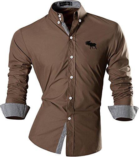 Jeansian Uomo Camicie Maniche Lunghe Moda Men Shirts Slim Fit Casual Long Sleves Fashion 8558 Khiki M