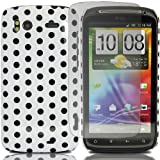 Polka Dots - Hard Mobile Phone Case Cover For HTC Sensation XE G18 + Clear Screen Film Protector Proctector / White