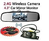 BW-Rckspiegel-mit-LCD-TFT-Monitor-kabellos-11-cm-Parkhilfe-IR-Nacht-Kamera-System