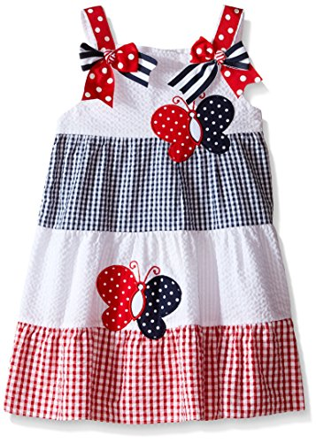 Rare Editions Little Girls Color Block Seersucker Dress, White/Red/Navy, 6X