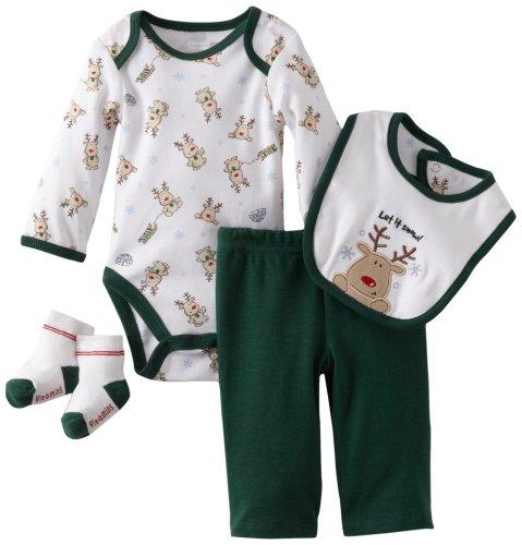Vitamins Baby-Boys Newborn Let It Snow 4 Piece Creeper Pant Set, Green, 6 Months