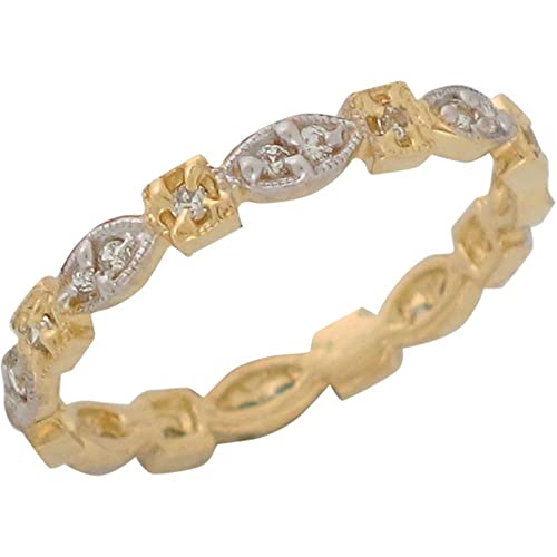 14ct Two Colour Gold White CZ Petite Ladies Anniversary Eternity Band Ring