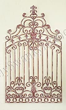 Vintage White GARDEN GATE Metal WALL ART Iron Scroll Indoor or Outdoor