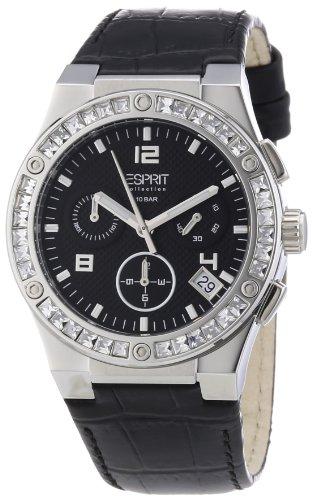 ESPRIT Collection EL101822F02 - Reloj cronógrafo de cuarzo para mujer con correa de piel, color negro