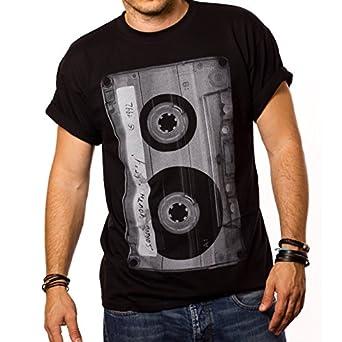 Cooles Musik T-Shirt mit Motiv TAPE KASSETTE schwarz Männer S