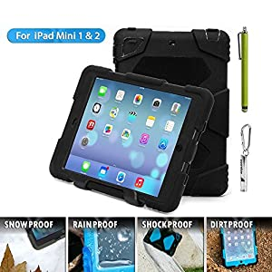 Ipad Mini Case, Ipad Mini 2 Case,ipad Mini 3 Case,Aceguarder Hot Newest Ipad Mini Non Toxic Eva Case Super 3D Protect Military-duty Case with Stand Holder Shell Cover Case for Apple Ipad Mini 3 Ipad Mini 2 Ipad Mini 1 - Rainproof Sandproof Dust-proof Shockproof (Gifts Outdoor Carabiner + Whistle + Handwritten Touch Pen) (Black)