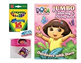 Pink Dora the Explorer Coloring & Activities Book and Band, and 16 Crayola Crayons Box (Pack of 3)