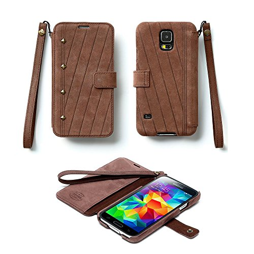 Pioneer Tech® Neo Vintage Diary Genuine Leather Wallet Case Cover For Samsung Galaxy S5 (Zn-Dark Brown)