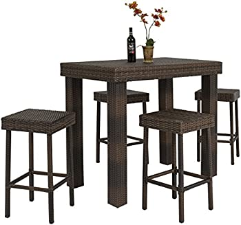 5 PC Wicker High Dining Furniture Set