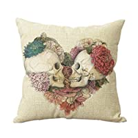 "Ycch Cotton Linen Square Decorative Throw Pillow Case Vintage Cushion Cover home 18X18 "" by valley"