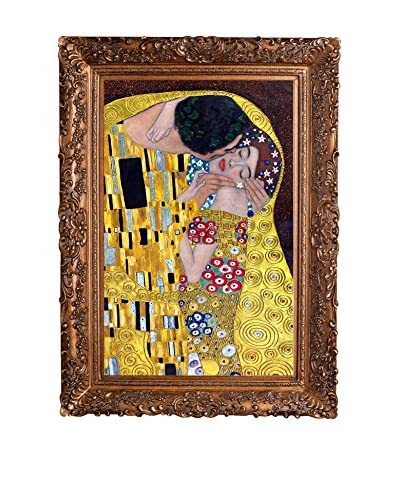 Gustav Klimt The Kiss Hand-Painted Reproduction with Gold Foil