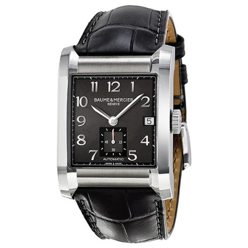 Baume et Mercier Hampton Milleis Black Dial Leather Mens Watch MOA10027