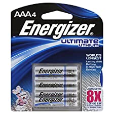 Energizer Ultimate Lithium Batteries, Lithium, AAA, 4 batteries